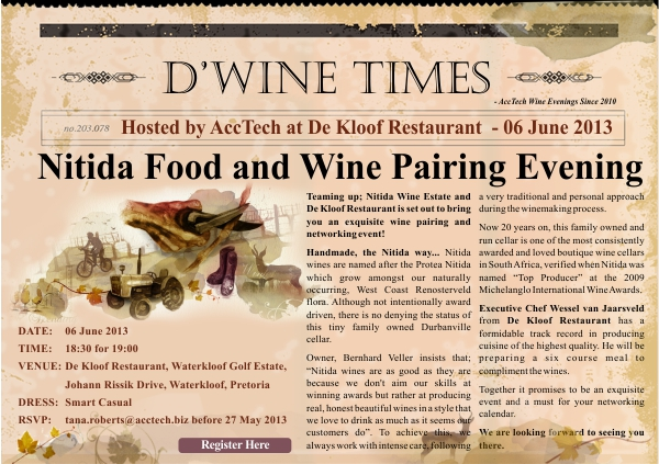 Nitida 6 Jun Wine invite 2013