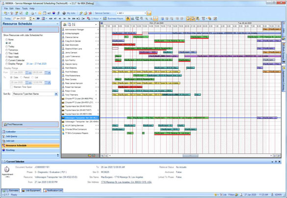 The Resource Schedule is similar to the timeline view of the Calendar but is more flexible.