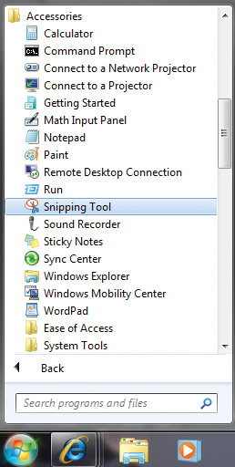Select Snipping Tool