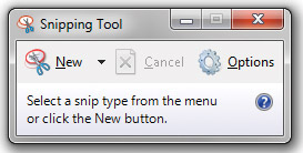 Select option in Microsoft Snipping Tool