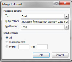 step8 - Merg to email, Microsoft Outlook