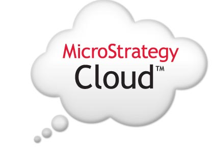 Image of a cloud with MicroStrategy Cloudtm logo
