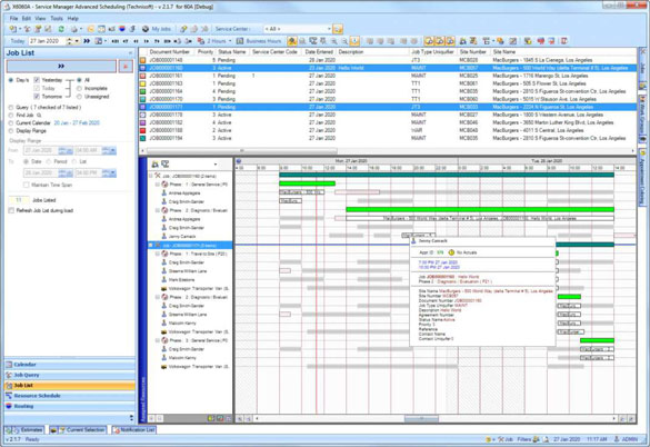 The Job list View gives a Project Management point of view of Appointments.