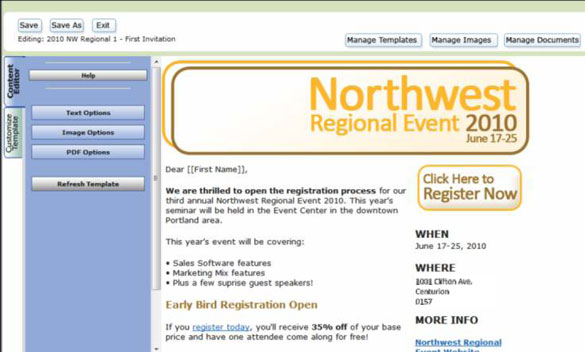 Here is an Example of an Email invite template