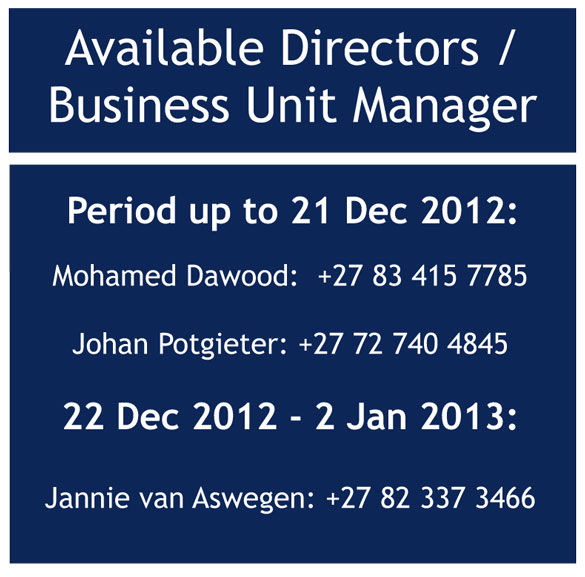 Available Directors and Business Unit Manager from 22 Dec 2012 to 2 Jan 2013